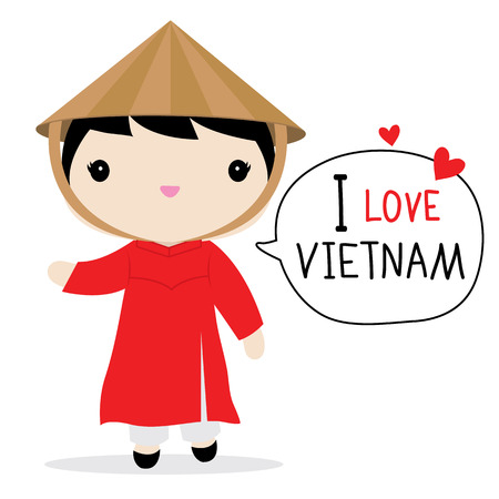 Vietnam Women National Dress Cartoon Vector Çizim
