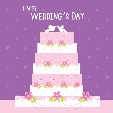 unique characteristics: Cake Wedding Flower Sweet cute cartoon Vector