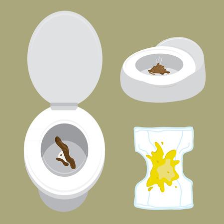 배설물 화장실 주전자 기저귀 디자인 만화 디자인 벡터 일러스트