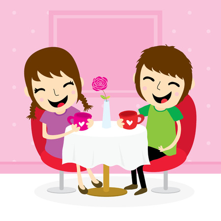 teenagers laughing: Boy and girl sweetheart meeting at shop cute cartoon vector Illustration