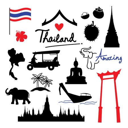 Thailand Plaats Landmark Travel icon cartoon vector Stock Illustratie