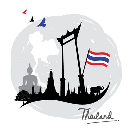 태국 장소 랜드 마크 여행 아이콘 만화 벡터