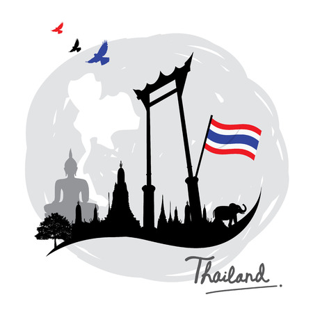 thai style: Thailand Place Landmark Travel icon cartoon vector