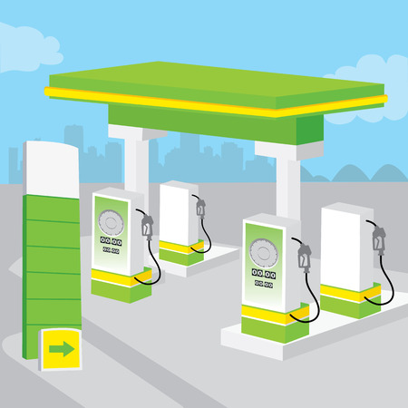 unique characteristics: Petrol Gas Station Background Decorate Design Cartoon vector