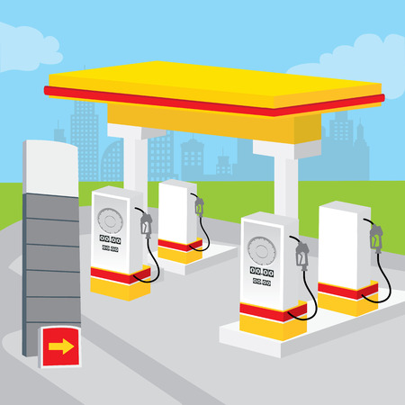 decorate: Petrol Gas Station Background Decorate Design Cartoon vector