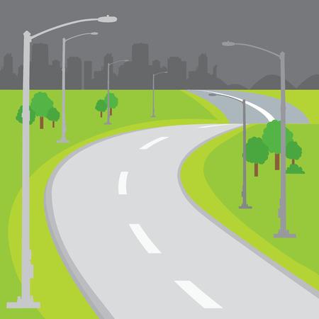 Roadway Blank Background Design Cartoon vector