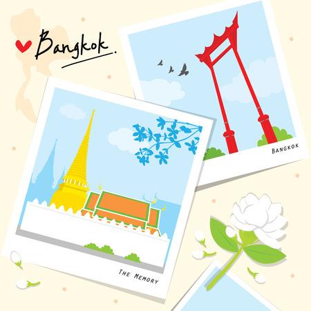 Bangkok Thailand Plaats Landmark Travel Temple cartoon vector Stock Illustratie