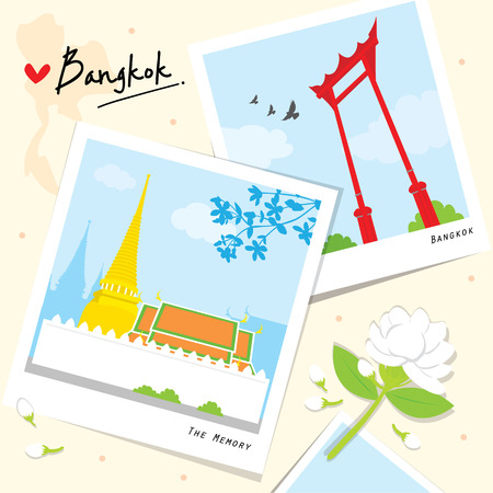 Bangkok Thailand Place Landmark Travel Temple cartoon vector