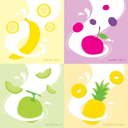 Milk Flavor Banana Cherry Pineapple Melon Vector