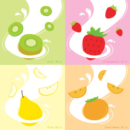 persimmon: Milk Flavor Kiwi Strawberry Persimmon Pear Vector