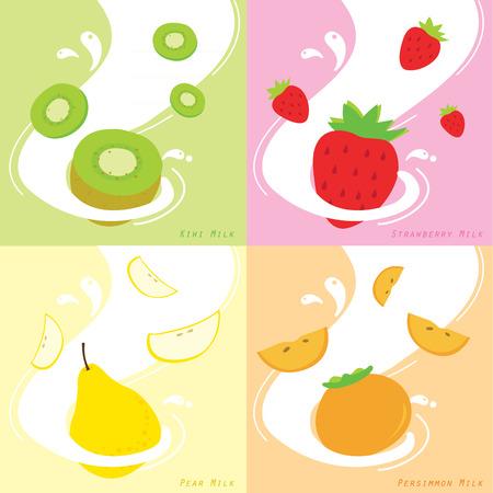 caqui: Sabor Leite Vector Kiwi Morango Persimmon Pear Ilustra��o