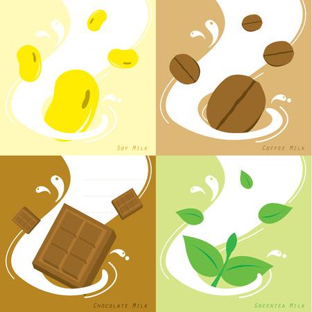 Milk Flavor Soy Coffee Chocolate GreenteaVector