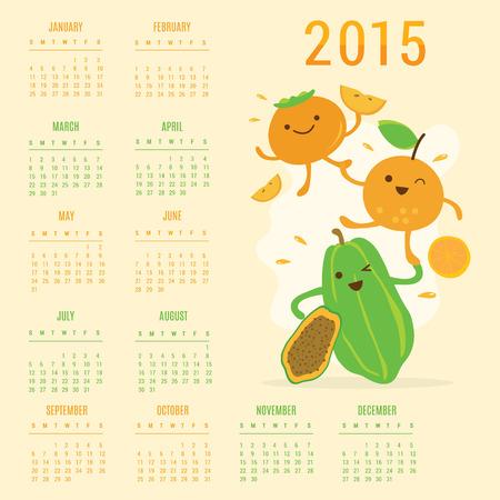 caqui: Calend�rio 2015 Fruit Vector bonito dos desenhos animados Papaya Laranja Caqui