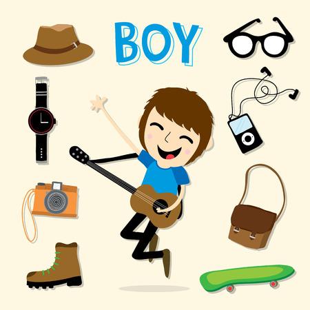 guitar illustration: Boy Smart Cartoon Vector