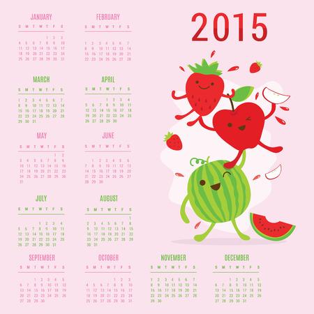 Calendar 2015 Fruit Cute Cartoon Strawberry