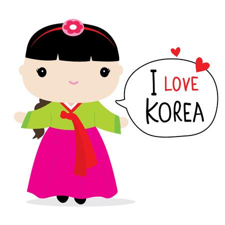 한국 여성 한복 만화 벡터