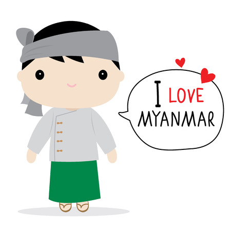 myanmar: Myanmar Men National Dress Cartoon Vector Illustration
