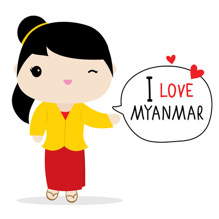 Myanmar Women National Dress Cartoon Vector Vector