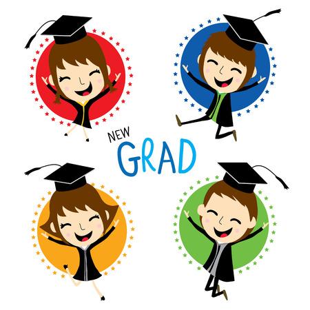 graduacion niños: Enhorabuena de la graduación nuevo Vector lindo de la historieta Vectores