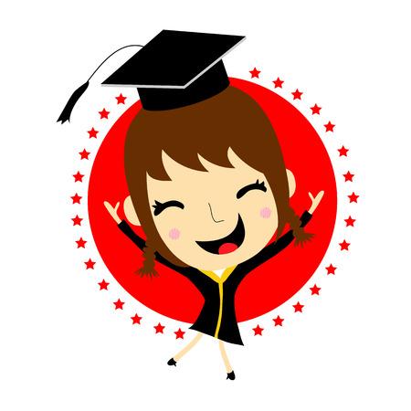 graduate asian: Cartoon Graduation Vector Illustration