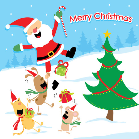 Merry Christmas Cartoon Vector Vector