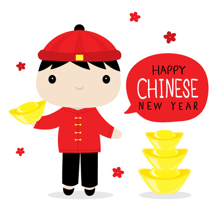 chinese dress: Chinese Boy Cute Cartoon Vector