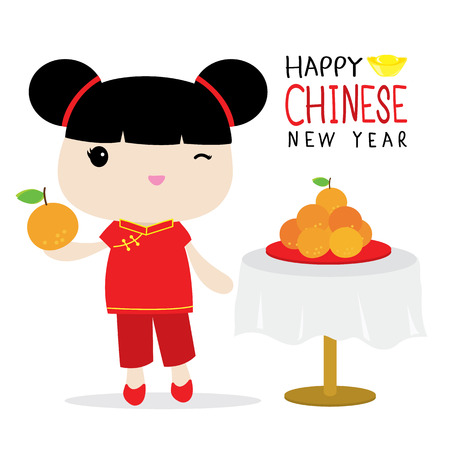 rich girl: Chinese Sister Hold Orange Cute Cartoon Vector
