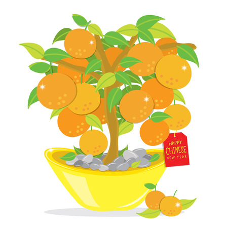 Orange Tree Bonne Cartoon Nouvel An chinois Vecteur Banque d'images - 38389398