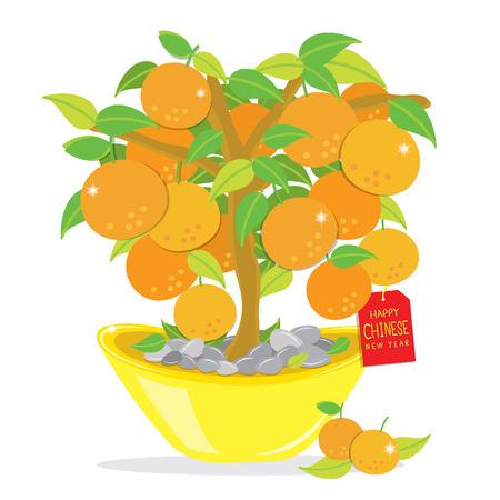 orange tree: Orange Tree Happy Chinese New Year Cartoon Vector Illustration