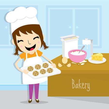 Girl make bakery activity cute cartoon vector