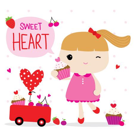 girl cute: Love Valentine Girl Cute Cartoon Character Vector Illustration