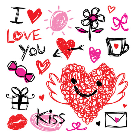 cartoon kiss: Sweetheart I Love You Valentine Heart Cute Cartoon Vector Illustration