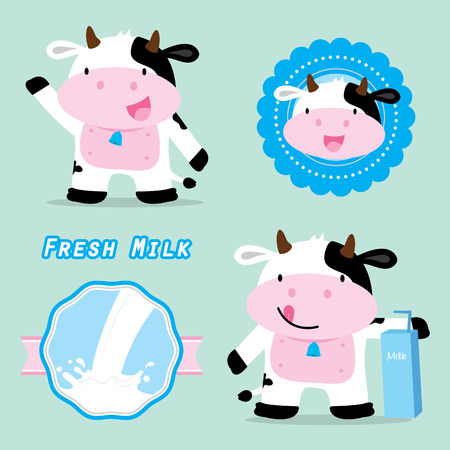 Cow Cute Character Cartoon Design Vector Ilustracja