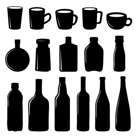 demijohn: Cup and Bottle Icon Black Vector Design Illustration