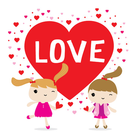 girl in love: Love Girl Cute Cartoon Character Vector Illustration