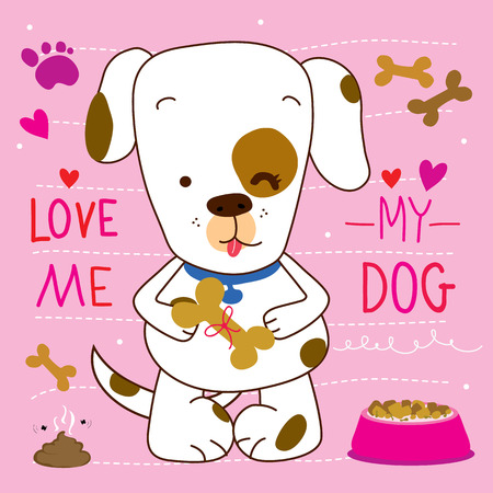 muck: Love me love my Dog Cartoon Cute Vector Design Illustration