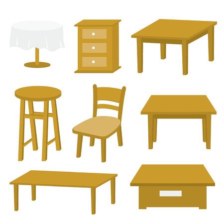 테이블 의자 가구 나무 벡터 디자인 일러스트