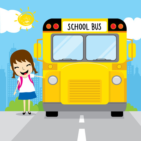 pigtail: Girl student go to school by school bus in the morning kid cartoon design vector