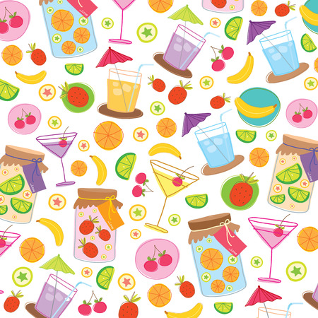 gift wrapping: Fruit Juice Drink Cute cartoon Gift Wrapping Design Vector
