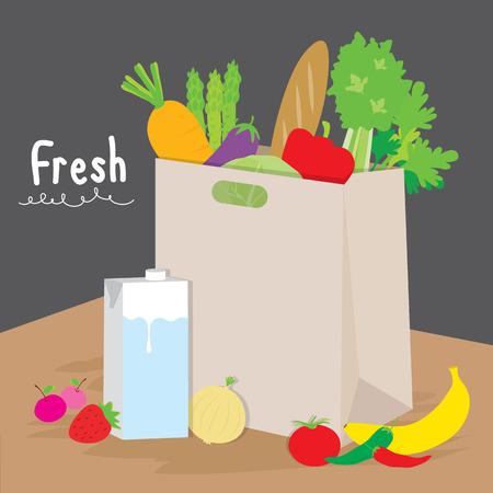 vegetable cook: Bag Shopping Market Fruit Vegetable Cook Cartoon Vector Illustration