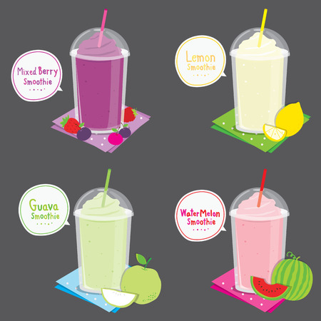 fruit smoothie: Mixed Berry Lemon Guava Watermelon Juice Fruit Smoothie Cartoon Vector