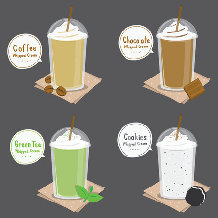 cream tea: Coffee Chocolate Green Tea Cookie Cream Smoothie Cartoon Vector