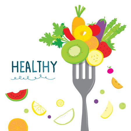 Healthy Fruit Vegetable Diet Eat Useful Vitamin Cartoon Vector