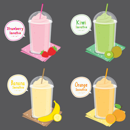 licuado de platano: Jugo de fresa kiwi plátano naranja Smoothie de la fruta de la historieta Vectores