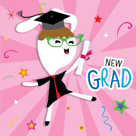 congratulation: Rabbit Animal Congratulation New Graduate Cute Cartoon  Illustration