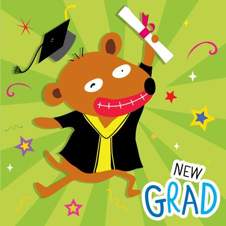perro caricatura: Perro Animal Enhorabuena Nueva Graduado lindo de la historieta Vectores