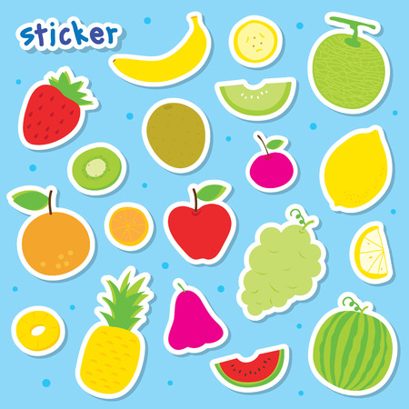 art vector: Sticker Fruit Cute Cartoon Vector