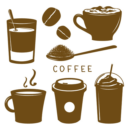 breakfast cup: Coffee Cup Breakfast Icon Brown Cartoon Vector Illustration
