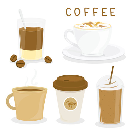 coffee cup vector: Coffee Cup Breakfast Cartoon Vector
