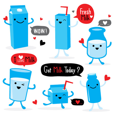 mleczko: Mleko Pakiet Cartoon Character Śliczne wektor Ilustracja